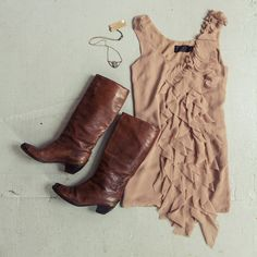 OUTFIT!  Nude dress with tall vintage boots, and a necklace by Rhys May Jewelry.