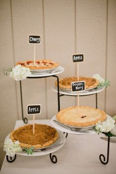 How about pies instead of cakes?   Photography by Brandi Welles Photographer / brandiwellesphotographer.com, Floral Design by Flower Allie / flowerallieweddings.com/