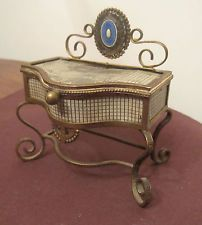 antique rare bronze victorian sterling guilloche enamel dresser trinket ring box