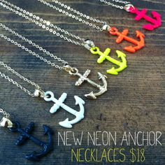 Nautical with a neon twist:) #neon #nautical #anchor #jewelry