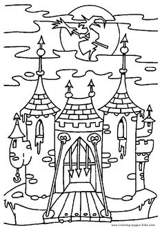 Scary castle Halloween color page, holiday coloring pages, color plate, coloring sheet,printable color picture