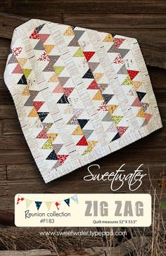 Pattern to create Zig Zag Quilt. Quilt measures 50 x 53 1/2. This pattern will be sent to you as a download. If you are wanting a hard copy instead please convo us. Thanks!  Uses 1 Layer Cake plus yardage for background, sashing and borders and binding.
