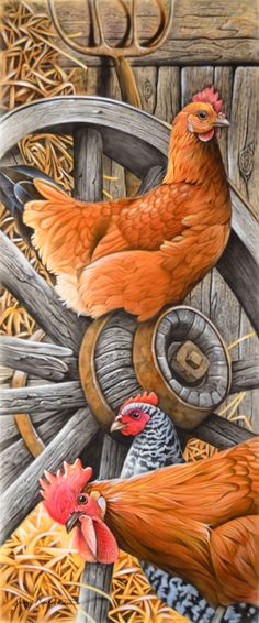 I love this painting of the Rhode Island Reds and the other one which could be a Cookoo Moran. What a great barnyard scene. The Wagan wheel is awesome too! Rooster Painting, Rooster Art, Rooster Decor, Tole Painting, Chicken Signs, Chicken Art, Art And Illustration, Chicken Illustration, Chicken Pictures