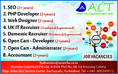Job vacancies @ Anantha Cyber Tech Pvt Ltd