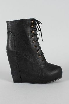 Berkeley-06 Leatherette Lace Up Wedge Bootie