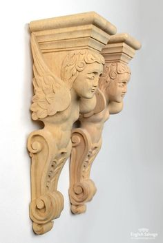 Reclaimed wooden carved cherub figure corbels Wood Carving Designs, Architectural Antiques, Acanthus, Cherub, Leaf Design, Hallways, Hand Carved, Gingerbread, Embroidery Designs