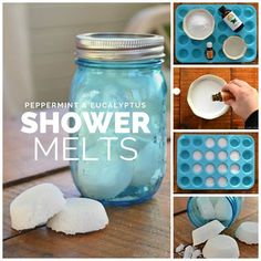 Essential oil shower steamers and melts- aromatherapy benefits of bath bombs? Try shower melts! ideas for essential oil blends to use in shower steamers to wake up & feel energized, to calm and relax, to uplift and to support clear breathing.