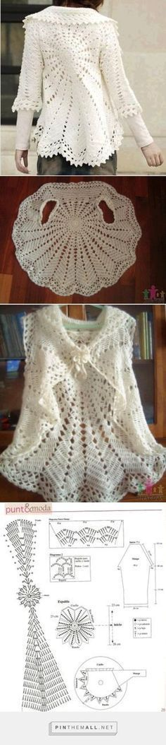 Crochet Patterns Dress Crochet Lace Round Bolero/Jacket with Sleeves ~~these 12 crochet circular vest jacket patterns that are all inspired of bohemian fashion! These free crochet patterns for jacket would also be great for stylishCrochet Patterns We Gilet Crochet, Crochet Coat, Crochet Lace Dress, Crochet Jacket, Crochet Cardigan, Crochet Shawl, Crochet Clothes, Lace Cardigan, Crochet Sweaters