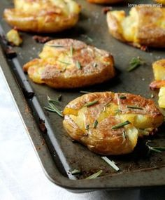Crispy Smashed Potatoes taste just like a fried hash brown, but way healthier and way more delicious!