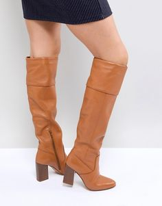 4958586fd ASOS CERYS Leather Knee Boots Tan Boots, Knee High Boots, Leather Boots,  Asos