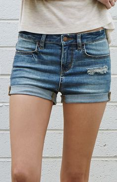 Bullhead Denim Co. Joe Blue Ripped Mid Rise Super Stretch Denim Shorts