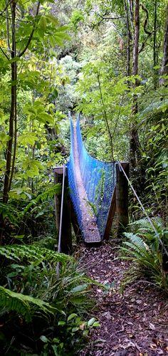 Pirongia Mountain, Waikato, New Zealand - Bell Track, suspension bridge over the stream
