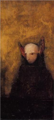 The Monster - Odilon Redon, Private Collection this painting is haunting and tragic, it definitely strikes something in me