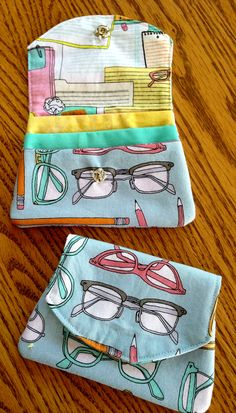 "Little Wallet pattern by Valori Wells, sewn by Janet Beyea. This cute wallet is perfect for ID, cash, and credit card. 4 1/2"" by 3 1/2"" finished size."