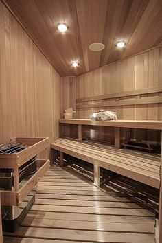 Sauna in the house Sauna Steam Room, Sauna Room, Dream Home Design, My Dream Home, House Design, Saunas, Home Spa, At Home Gym, Sauna Design