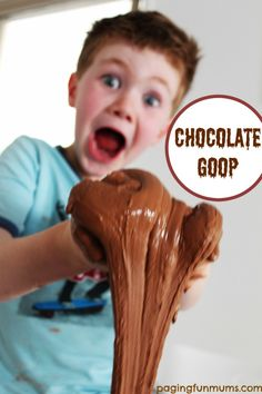 Homemade Chocolate Goop 3 ingredient chocolate goop play recipes for kids - This stuff is AWESOME! Fun Activities For Kids, Sensory Activities, Science For Kids, Nursery Activities, Motor Activities, Indoor Activities, Family Activities, Sensory Bins, Sensory Play
