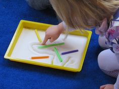 Salt tray mazes by Teach Preschool- another tactile way of developing fine motor skills for writing later.