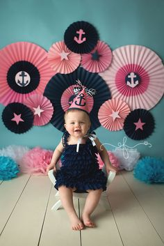 Elizabeth Frederick is a Connecticut based photographer specializing in Newborn Photography and Smash Cake Photography. Nautical Birthday Girls, Anchor Birthday, Sailor Birthday, Sailor Party, Nautical Party, Birthday Girl Pictures, First Birthday Photos, First Birthday Outfits, Bday Girl
