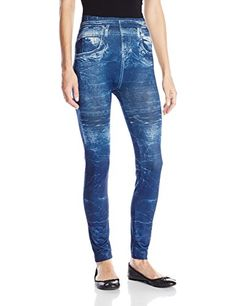 Carnival Women's Full Length Printed Jeans Leggings, Blue Acid Wash, One Size. One size fits beautifully on models up to us size 16. Lifts and firms your buttocks. No unwanted stitches, zippers, or buckles. Denim print, not real jeans.