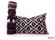"""Silk Velvet Ikat Pillow 14""""x 22"""" Handwoven Room Decor Throw Pillow Lumbar Pillow Decorative Pillowcase  Soft Silky  Luxurious."""