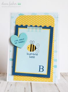 Bumble Bee card *Bella Blvd* - Scrapbook.com - Simple layers of adorable Bella Blvd papers and chipboard make the cutest card!