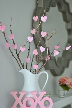 DIY Heart Tree, adorable Valentine's Day decor idea #valentines #hearttree #pinkdecor
