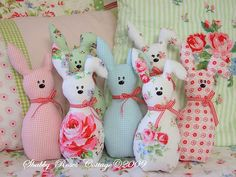 Easter Bunny, also called the Easter Rabbit or Easter Hare, is a folkloric figure and symbol of Easter, representing a rabbit bringing Easter Eggs.DIY So easy to sew: Easter bunny parade in pastelsShabby-Roses-Cottage: Little rabbits.With Easter comi Easter Projects, Easter Crafts, Fabric Toys, Fabric Crafts, Spring Crafts, Holiday Crafts, Sewing Projects, Craft Projects, Sewing Ideas