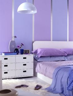 Purple and Blue Bedroom Inspirational Bining Levis Mix Clear Blue with Clear Purple Purple Bedroom Design, Purple Bedrooms, Bedroom Wall Colors, Blue Bedroom, Bedroom Decor, Bedroom Ideas, Purple Striped Walls, Purple Walls, Purple Wall Paint