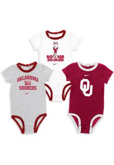 Make sure your baby is Sooner Born and Bred with this three pack of Nike Infant Onesies.