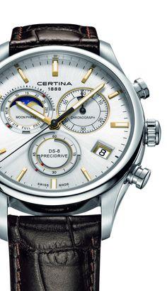 Certina Chronographe DS-8 Phase de Lune Quartz (silver dial, ref. C033.450.16.031.00, front view)