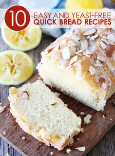 Lemon Almond Bread that is delicious enough to serve as a dessert. I am still calling it bread though so I can eat it for breakfast:) Almond Milk Recipes, Lemon Recipes, Bread Recipes, Sweet Recipes, Baking Recipes, Just Desserts, Delicious Desserts, Dessert Recipes, Yummy Food