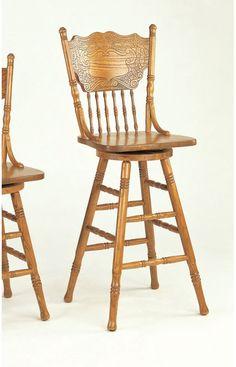 Solid Medium Oak Windsor Back Swivel Counter Height Bar Stool