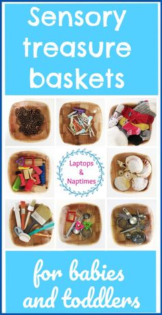 Sick of noisy plastic toys? Treasure baskets offer simple eco play ideas for babies and toddlers to learn and explore and build fine motor skills. So easy and so much fun! - Kids education and learning acts Toddler And Baby Room, Toddler Play, Toddler Preschool, Infant Play, Infant Room, Baby Sensory Play, Baby Play, Baby Toys, Baby Treasure Basket