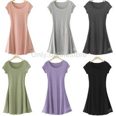 ae6680f8a2b1 Women Lady Girl Pure Cotton Casual Short Sleeve Summer Short Mini Dress Sz  M-4XL
