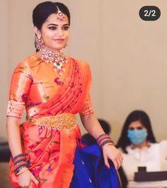 Lehenga Saree Design, Half Saree Lehenga, Pattu Saree Blouse Designs, Half Saree Designs, Saree Look, Lehenga Designs, Blouse Designs High Neck, Blouse Designs Silk, Bridal Blouse Designs