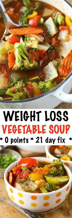 This Weight Loss Vegetable Soup Recipe is one of our favorites! Completely loaded with veggies and flavor and naturally low in fat and calories its the perfect lunch, snack or starter! 0 Weight Watchers points and 21 day fix approved.