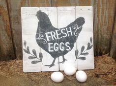 This sign will look adorable in your kitchen, dining room or outside on your chicken coop! Fresh Eggs is stenciled with chalk paint against a distressed whitewashed background. The chicken is painted with black chalk paint. The sign is handcrafted in my workshop and made with reclaimed wood so no two are alike. Wood grain, cracks, nails/nail holes add individual character to each piece. This sign is made to order. May be used outdoors. The picture is an example, not the actual sign you will…