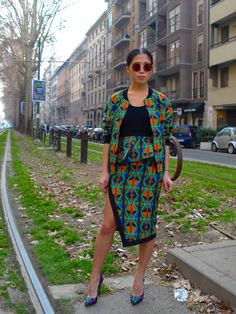 sporty skirt suit with African fabric | via Face Hunter: MILAN - fashion week aw 13, day 1, 02/20/13