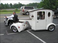 Motor bike and carriage Custom Trikes, Custom Cars, Sidecar, Vw Bus, Custom Motorcycle Builders, Motorcycle Wedding, Motorcycle Events, Motorcycle Trailer, Car Camper
