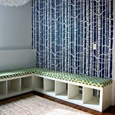 Amazing Seating Project {Benches}  This fabulous tutorial takes an ikea shelf and repurposes it into a bench. So stylish and functional providing extra seating without taking up a lot of space. Perfect for the toy room or maybe even craft room!