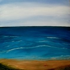 Inverness Beach and the Red Pail x Acrylic on canvas Inverness, Pear, That Look, Waves, Prints, Pictures, Blue, Outdoor, Outdoors