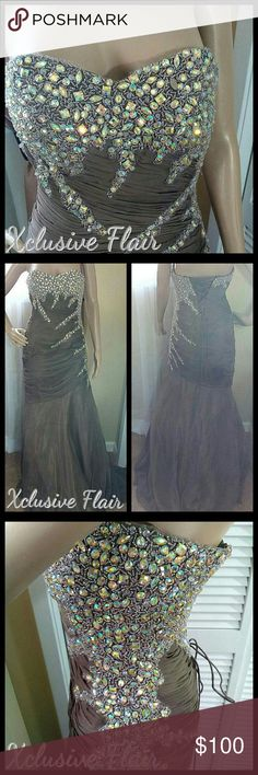 """New Trumpet Mermaid Ball Gown * New with tags never worn * Strapless * Rhinestones on bodice, left side & around back * Ruched material * Hidden zipper on the side * Padded bodice * Lace up back * Scarf included * Full lining * Mesh lining from knee to end of dress * Taupe color * Armpit to armpit 19"""" * Waist 26""""  Trumpet dress Mermaid dress Pageant dress Pageant gown Dresses"""