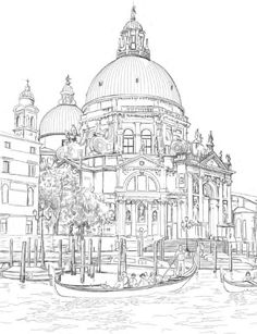 """""""Venice Coloring Book for Adults"""" is an original coloring book for adults and smart children. Relax, grab your pencils and color famous landmarks from the romantic city of Venice, Italy. Featuring beautiful detailed sketches of landmarks from Venic. Flower Coloring Pages, Mandala Coloring, Coloring Book Pages, Coloring Sheets, Christmas Coloring Pages, Mandala Art, Colorful Pictures, Line Art, Sketches"""