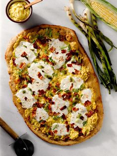 Cheesy Corn Pizza with Bacon and Scallions #sweetsurprisesweeps