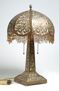 Victorian Brass Filigree Table Lamp