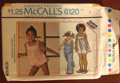 McCalls 6120 - Toddlers/Childrens DRESS, JUMPSUIT and ROMPER Size 5 - McCalls Sewing Pattern - Retro 70s - Carefree Pattern