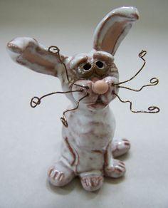 Little White Rabbit / Bunny Sculpture Item 1012. $28.00, via Etsy.
