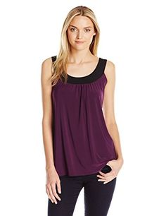 Star Vixen Womens Sleeveless UBand Keyhole Tie Back Ity Knit Top PurpleBlack Medium *** Check out this great product.