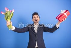 Man with flowers — Stock Image #67379261