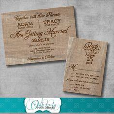 Rustic Burlap Wedding Invitation  DIY  by OohlalaPoshDesigns, $15.00